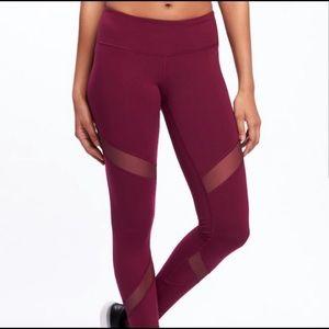 Pants - Maroon Mesh Compression workout pants